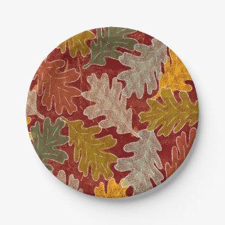 Assiettes En Papier Feuille de chêne d'automne
