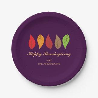 Assiettes En Papier Feuille de chute sur le pourpre, thanksgiving