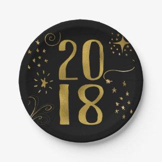 Assiettes En Papier Feuille d'or de Faux de partie de 2018 réveillons