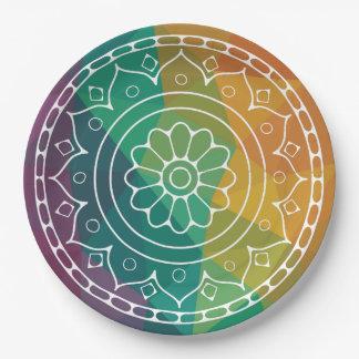 Assiettes En Papier Fleur de mandala dans d'arc-en-ciel la poly
