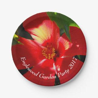 Assiettes En Papier Fleur rouge de ketmie au soleil
