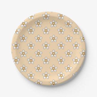 """Assiettes En Papier fleurs blanches sur le champ jaune 9"""" plaque à"""