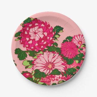 Assiettes En Papier Frontière de fleur, fuchsia et rose japonais de