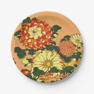Assiettes En Papier Frontière de fleur, mandarine et or japonais