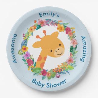 Assiettes En Papier Girafe mignonne avec un baby shower floral de