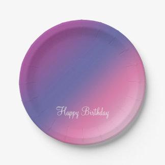 Assiettes En Papier gradient bleu pourpre rose élégant d'ombre coloré