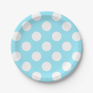 Assiettes En Papier Grand pois blanc sur le bleu de ciel d'été