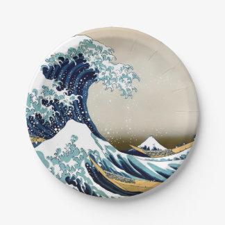Assiettes En Papier Grande vague reconstituée outre de Kanagawa par