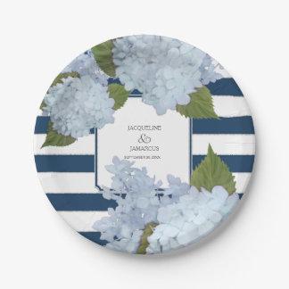 Assiettes En Papier Guirlande florale d'hortensia rayé bleu peinte à