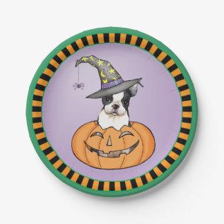 Assiettes En Papier Halloween Boston Terrier