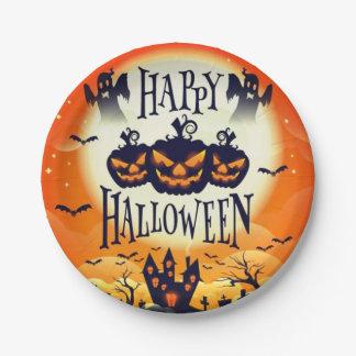Assiettes En Papier Halloween hanté heureux