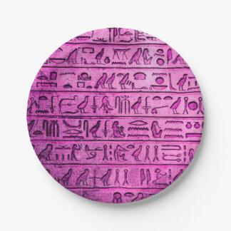Assiettes En Papier Hiéroglyphes égyptiens antiques pourpres