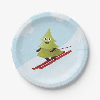 Assiettes En Papier Hiver heureux de ski de pin