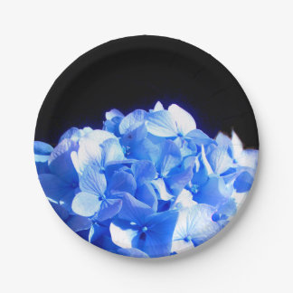 Assiettes En Papier Hortensia de bleu de cobalt