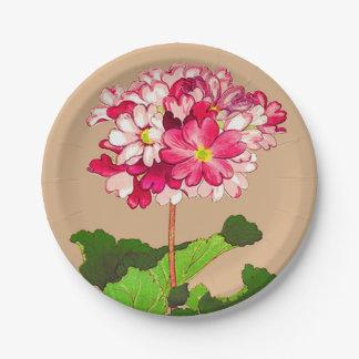 Assiettes En Papier Hortensia japonais vintage. Rose et vert