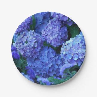Assiettes En Papier Hortensias bleus floraux