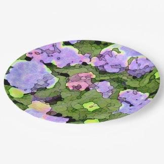 Assiettes En Papier Hortensias de batik d'aquarelle