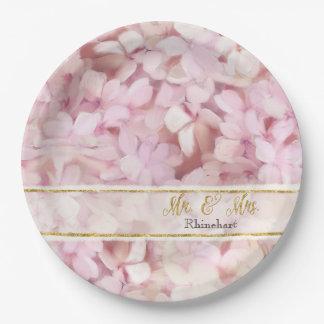 Assiettes En Papier Hortensias de M. et de Mme Faux Gold Glitter Pink