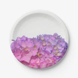 Assiettes En Papier Hortensias roses et bleus