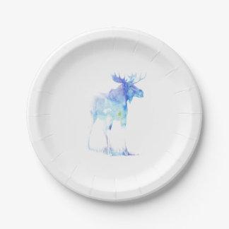 Assiettes En Papier Illustration bleue d'orignaux d'aquarelle
