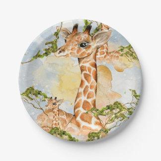 Assiettes En Papier Image d'animal de portrait de girafe