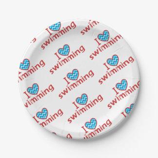 Assiettes En Papier J'aime (coeur) la natation