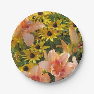 Assiettes En Papier Jardin jaune de fleurs et de lis de cône