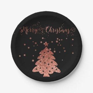 Assiettes En Papier Joyeux Noël fascinant et rose et noir de parties