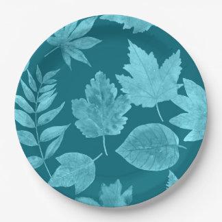 Assiettes En Papier La chute part dans le bleu de paon, décor de chute