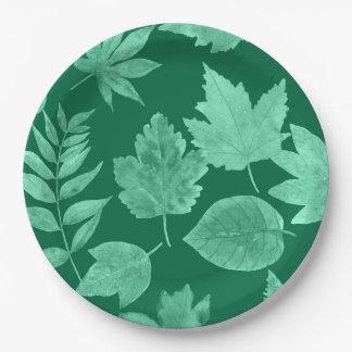 Assiettes En Papier La chute part dans le vert vert, décor de chute de