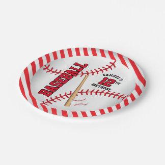 Assiettes En Papier La conception rouge | d'anniversaire de base-ball