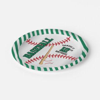 Assiettes En Papier La conception verte | d'anniversaire de base-ball