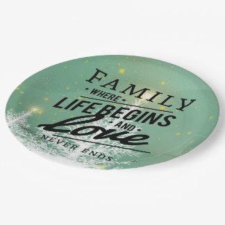Assiettes En Papier La famille où la vie commence et l'amour ne finit