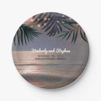 Assiettes En Papier La ficelle de coucher du soleil de plage allume la
