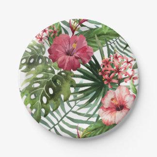 Assiettes En Papier La ketmie tropicale fleurit le motif de feuillage