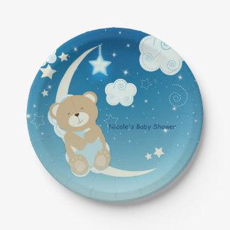 Assiettes En Papier La lune d'ours de nounours et le baby shower