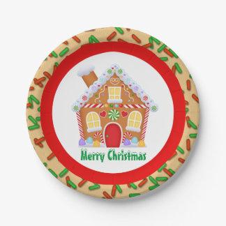 Assiettes En Papier La maison de pain d'épice de fête de Noël ajoutent