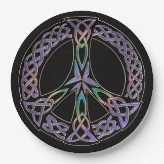 Assiettes En Papier La paix celtique signent dedans la lavande et
