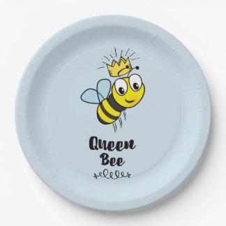 Assiettes En Papier La reine des abeilles mignonne gaffent l'abeille