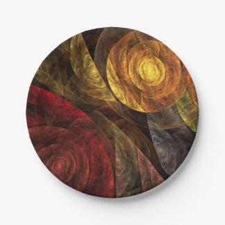 Assiettes En Papier La spirale de l'art abstrait de la vie