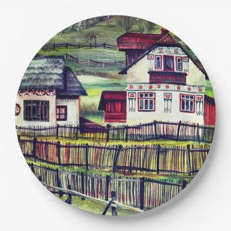 Assiettes En Papier La Transylvanie, Roumanie, paysage peint