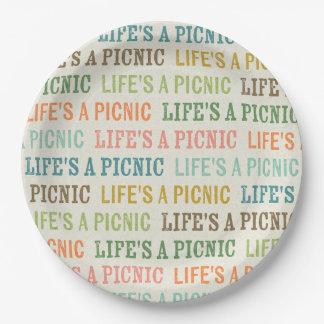 Assiettes En Papier La vie est les plaques à papier des textes de