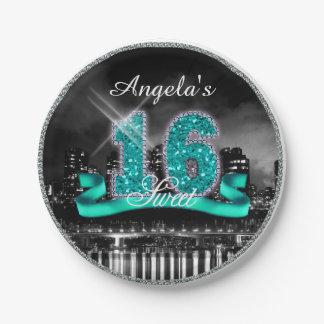Assiettes En Papier La ville allume le sweet sixteen Teal ID120