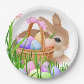 Assiettes En Papier Lapin de Pâques et plaque à papier de partie de