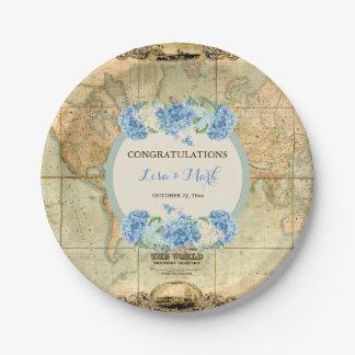 Assiettes En Papier L'aventure attend les hortensias vintages de bleu