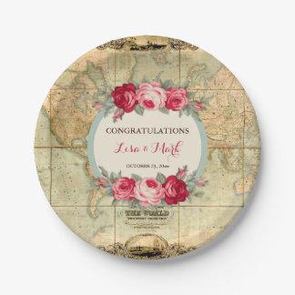 Assiettes En Papier L'aventure attend les roses vintages de carte du