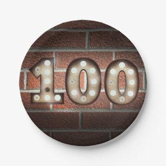 Assiettes En Papier le 100th chapiteau d'anniversaire se connectent le