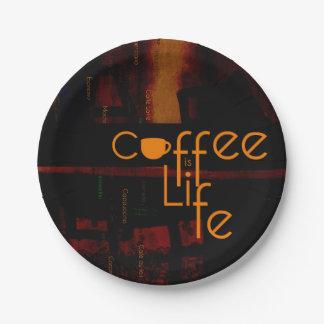 Assiettes En Papier Le café est la vie