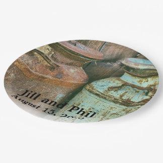 Assiettes En Papier Le lait met en boîte le monogramme antique
