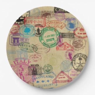 Assiettes En Papier Le passeport vintage emboutit les plaques à papier